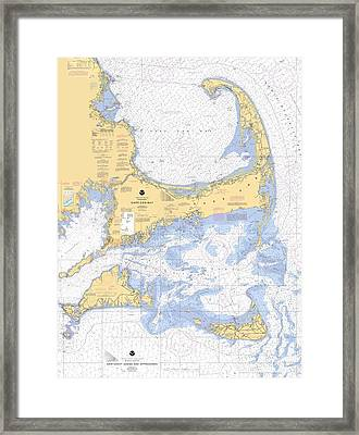 Cape Cod, Martha's Vineyard And Nantucket Nautical Chart Framed Print