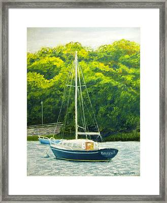 Cape Cod Sailboat Framed Print by Joan Swanson