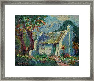Cape Cottage With Mountains Art Bertram Poole Framed Print by Thomas Bertram POOLE