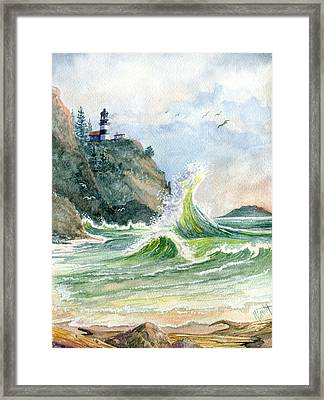 Framed Print featuring the painting Cape Disappointment Lighthouse by Marilyn Smith