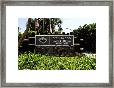 Cape Florida Entrance Sign Framed Print by David Lee Thompson