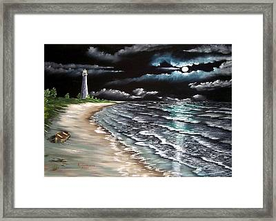 Cape Florida Lite At Midnight Framed Print by Riley Geddings