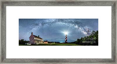 Cape Hatteras Light House Milky Way Panoramic Framed Print