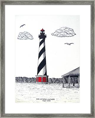 Cape Hatteras Lighthouse Drawing Framed Print by Frederic Kohli