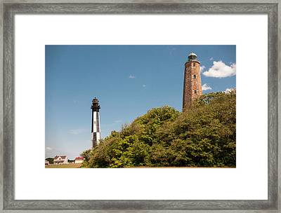 Cape Henry Lighthouses Old And New Framed Print