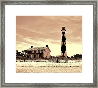 Cape Lookout Lighthouse In Sepia Framed Print by Phyllis Taylor
