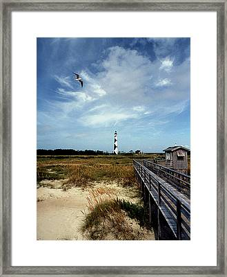 Cape Lookout Lighthouse Nc Framed Print by Skip Willits