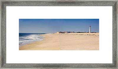 Cape May Beach Panorama New Jersey Framed Print by George Oze