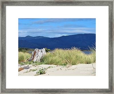 Sand Grass Mountains Sky Framed Print