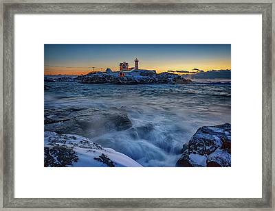 Cape Neddick In The Cold Framed Print by Rick Berk