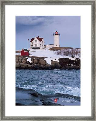 Cape Neddick Light At Dusk, York, Maine 21073 Framed Print