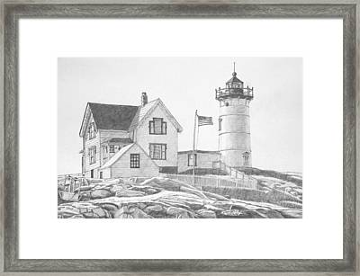 Cape Neddick Light House Drawing Framed Print
