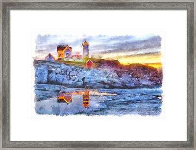 Cape Neddick Light Watercolor Framed Print
