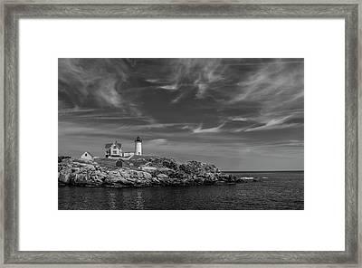 Cape Neddick Lighthouse Bw Framed Print