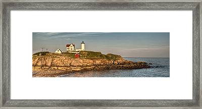 Cape Neddick Lighthouse Island In Evening Light - Panorama Framed Print by At Lands End Photography