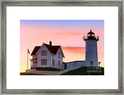 Cape Neddick Lighthouse Sunrise Framed Print by Jerry Fornarotto