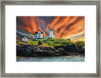 Cape Neddick Nubble Lighthouse Framed Print by Lois Bryan