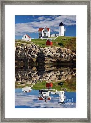 Cape Neddick Reflection - D003756a Framed Print by Daniel Dempster