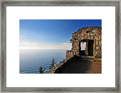 Framed Print featuring the photograph Cape Perpetua Stone Shelter by Lara Ellis