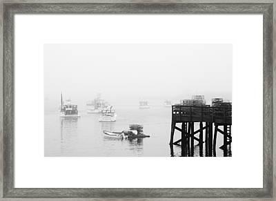 Cape Porpoise Lobster Boats In Fog Framed Print