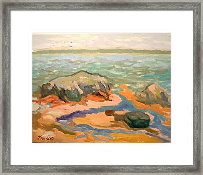 Framed Print featuring the painting Cape Rosier Beach by Francine Frank