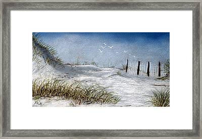Framed Print featuring the pastel Cape San Blas Evening by Jan Amiss