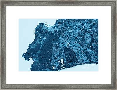 Cape Town Abstract City Map Top View Dark Framed Print