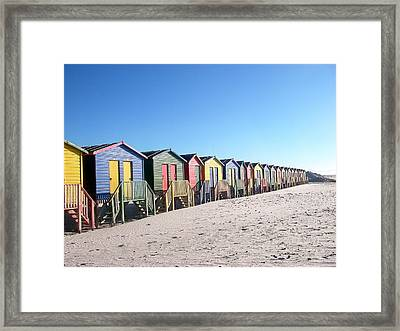 Cape Town Beachhuts Framed Print by Linda Russell
