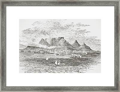 Cape Town South Africa From Table Bay Framed Print by Vintage Design Pics