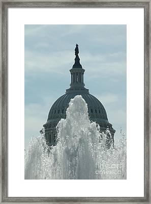 Capital Dome Behind Fountain Framed Print