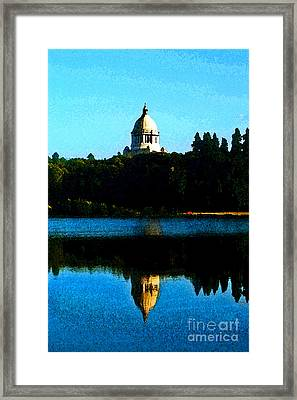 Framed Print featuring the photograph Capital Lake by Larry Keahey