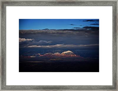 Framed Print featuring the photograph Capitol Butte In Sedona With Snow by Ron Chilston