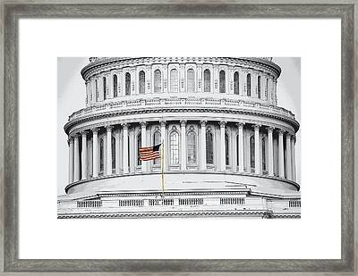 Framed Print featuring the photograph Capitol Flag by John Schneider