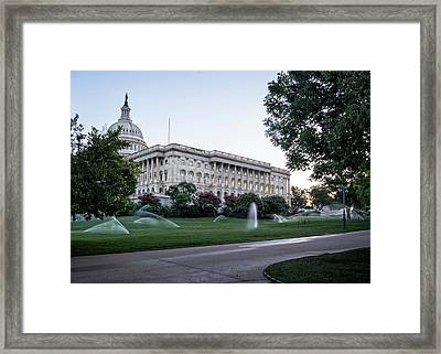Framed Print featuring the photograph Capitol Hill Sprinklers by Greg Mimbs