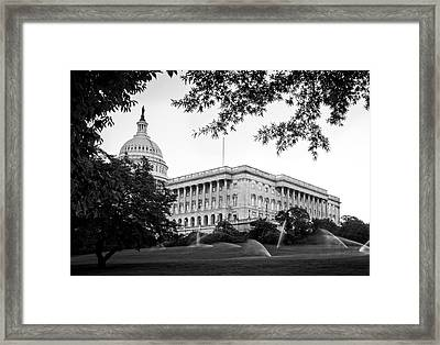 Framed Print featuring the photograph Capitol Lawn In Black And White by Greg Mimbs