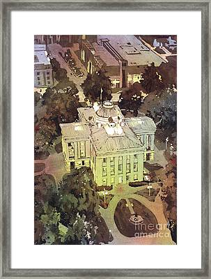 Framed Print featuring the painting Capitol Of Stupid- Raleigh, Nc by Ryan Fox