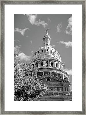 Capitol Of Texas - State Building - Austin Texas Black And White Framed Print by Gregory Ballos