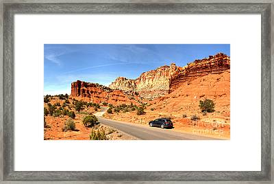 Capitol Reef Subaru Outback Framed Print by Adam Jewell