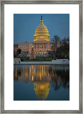 Framed Print featuring the photograph Capitol Reflection At Christmas by Cindy Lark Hartman