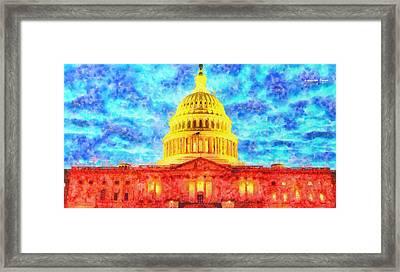 Capitol  - Watercolor -  - Da Framed Print
