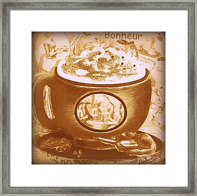 Cappuccino Ventage Happiness, Pink And Brown Framed Print