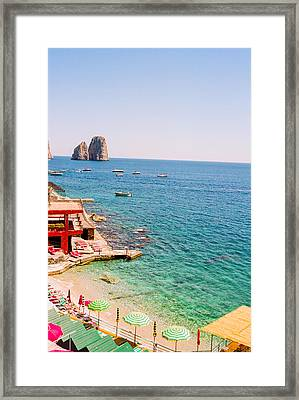 Capri Beach Umbrellas Framed Print by Ariane Moshayedi