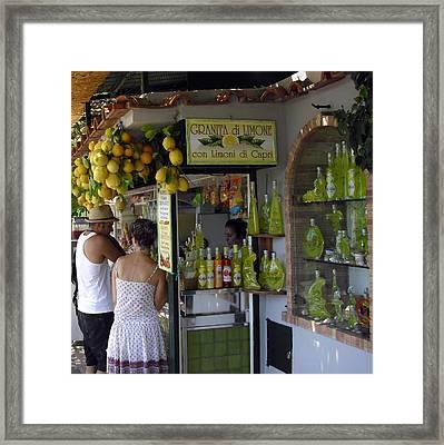 Capri Street Scene Con Limoni Framed Print