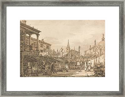 Capriccio Of A Venetian Courtyard Framed Print by Canaletto