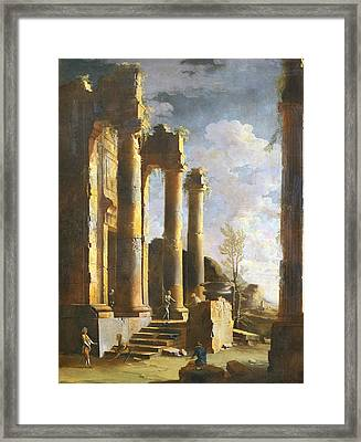 Capriccio With Ancient Ruins And Figure, Dawn Framed Print