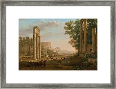 Capriccio With Ruins Of The Roman Forum Framed Print by Claude Lorrain