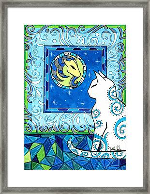 Capricorn Cat Zodiac Framed Print