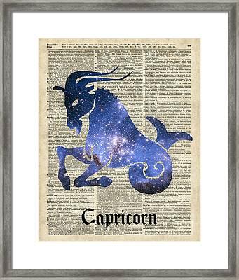 Capricorn Goat Horned - Zodiac Sign Framed Print by Jacob Kuch