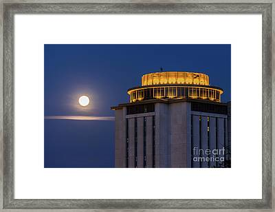 Capstone House And Full Moon Framed Print