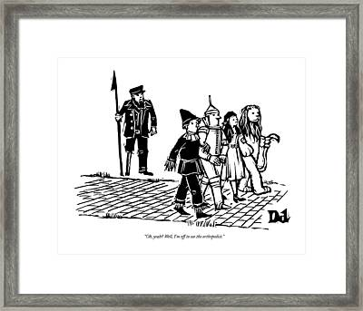 Captain Ahab Stands Speaking At The Yellow Brick Framed Print
